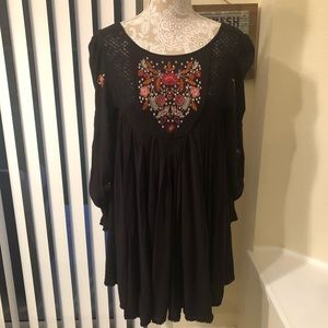 Free People | Embroidered Black Flowy Top Size SP